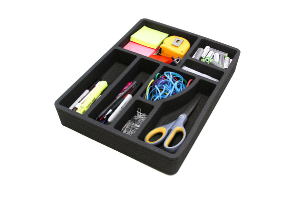 Polar Whale 3 Desk Utility Kitchen Drawer Organizers Tray Inserts Pen Pencil Notes Holder for Home Office Shop Waterproof Washable  15.1 X 11.5 X 2 Inches 8 Compartments Black 3 Pieces