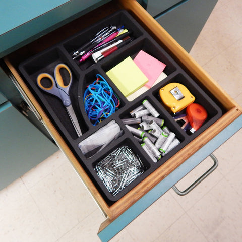 Polar Whale Desk Utility Kitchen Drawer Organizer Tray Insert Pen Pencil Notes Holder for Home Office Shop Waterproof Washable  14.8 X 12.3 X 2 Inches 8 Compartments Black