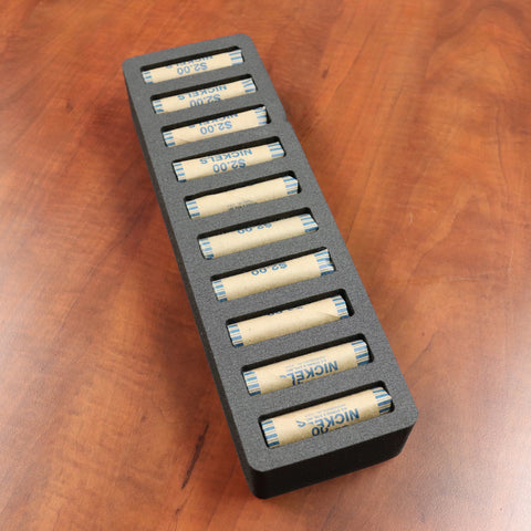 Polar Whale Rolled Coin Storage Organizer Tray Stackable Holds Nickels Holder for Office or Home Waterproof Washable  2 Inches Thick Foam 10 Compartments for 10 Rolls Nickel Black
