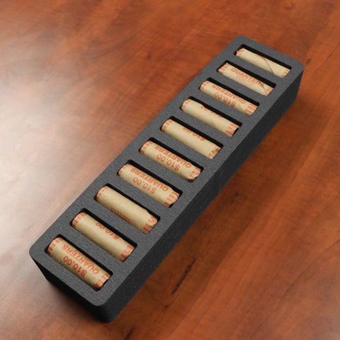 Polar Whale Rolled Coin Storage Organizer Tray Stackable Holds Quarters Holder for Office or Home Waterproof Washable  2 Inches Thick Foam 10 Compartments for 10 Rolls Quarter Black