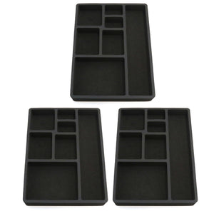 Polar Whale 3 Piece Desk Drawer Organizers Tray Non-Slip Waterproof Insert for Office Home Shop Garage  15.9 X 11.9 X 2 Inches Black 7 Compartments Extra Deep Set of 3