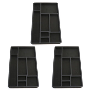 Polar Whale 3 Piece Desk Drawer Organizers Tray Non-Slip Waterproof Insert for Office Home Shop Garage  19.9 X 12.1 X 2 Inches Black 8 Compartments Extra Deep Set of 3