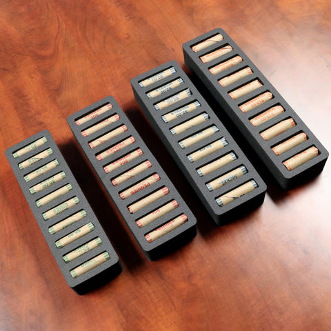 Polar Whale Rolled Coin Storage Organizer Tray Stackable Holds Quarters Nickels Dimes Pennies Rolls Holder for Office Home Waterproof Washable  2 Inch Thick Foam 10 Compartments Each Black