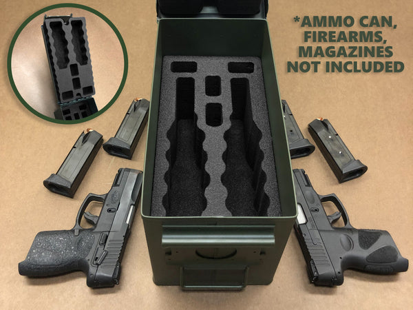 Polar Whale 2 Pistol 4 Magazine Tactical Transport Storage Case Insert Kit Pre-Cut Firearm Holder Fits Inside 50 Caliber Ammo Can (Can Not Included) .50 Cal Black Foam Liner M2A1