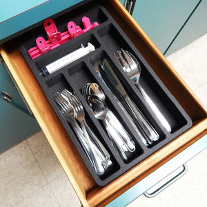 Polar Whale Flatware Silverware Drawer Organizer for Rv and Campers Cutlery Forks Knives Spoons Non-Slip Waterproof Compact Tray Insert  9.5 X 14.9 X 2 Inch 6 Slot Great for Home Kitchen