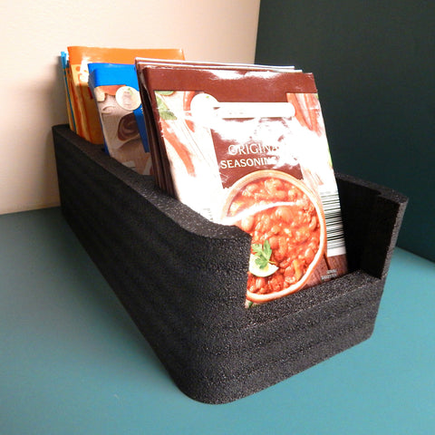 "Polar Whale Food Storage Organizer Bin Tray for Kitchen Pantry Cabinet Cupboard Countertop for Spice Pouches Hot Chocolate Dressing Mixes Sugar Packets Waterproof Washable USA Made 5"" Wide x 11"" Long"
