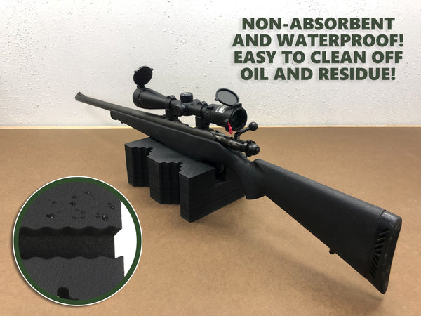Polar Whale Shooting Bench Rest Medium Shooters Block Kit W Style with Wave Gripper Butt Stock Inset Fits Most Guns Rifle Forestock and Shotgun Fore-End Waterproof Black Foam