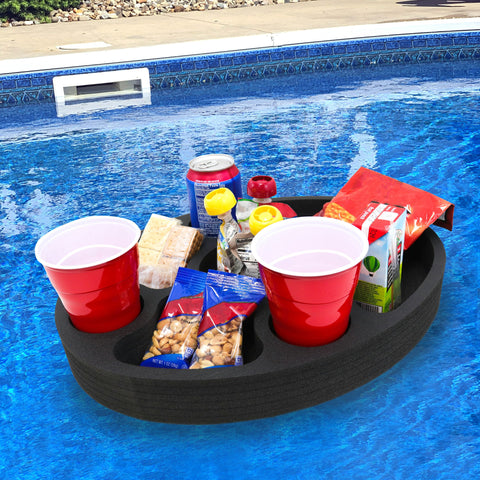 Polar Whale Floating Mini Bar Drink Holder Refreshment Table Tray for Pool or Beach Party Float Lounge Durable Foam 17 Inches Large 7 Compartments UV Resistant