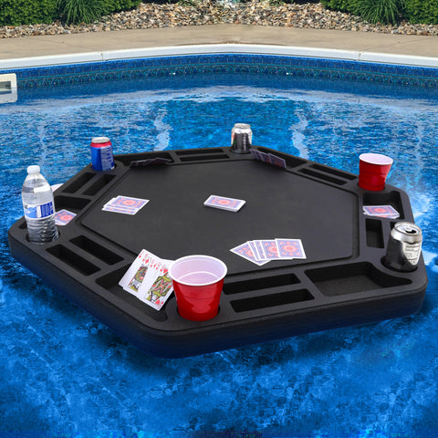 Polar Whale Floating Large Poker Table Game Tray for Pool or Beach Party Float Lounge Durable Foam 40.5 Inch Chip Slots Drink Holders with Waterproof Playing Cards Deck UV Resistant