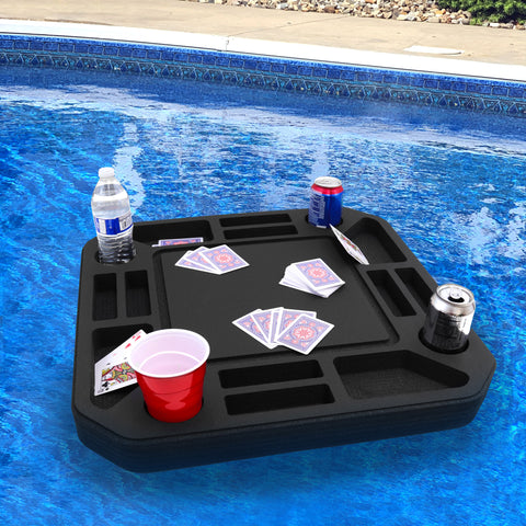Polar Whale Floating Medium Poker Table Game Tray for Pool or Beach Party Float Lounge Durable Foam 23.5 Inch Chip Slots Drink Holders with Waterproof Playing Cards Deck UV Resistant Made in USA