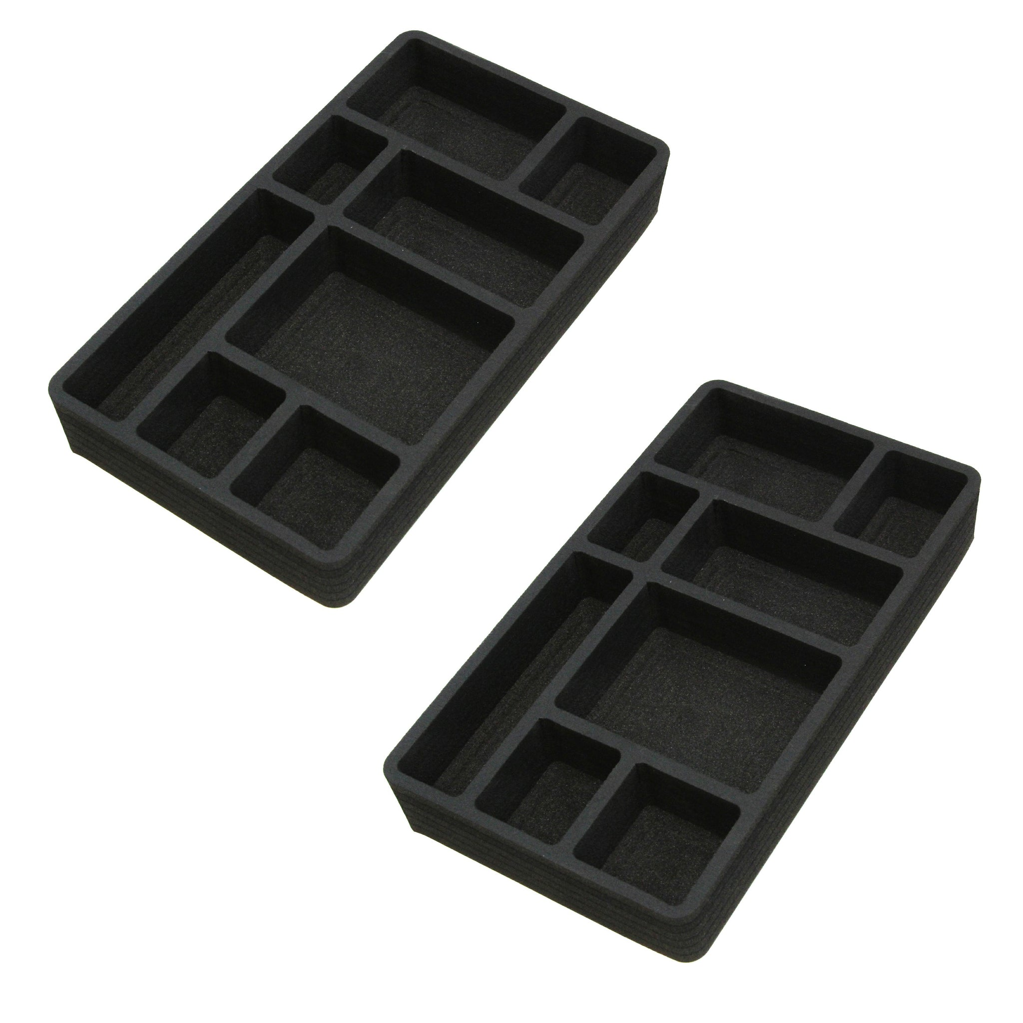 Polar Whale 2 Piece Desk Drawer Organizers Tray Non-Slip Waterproof Insert for Office Home Shop Garage  9 X 16 X 2 Inches Black 8 Compartments Extra Deep Pair Set of 2