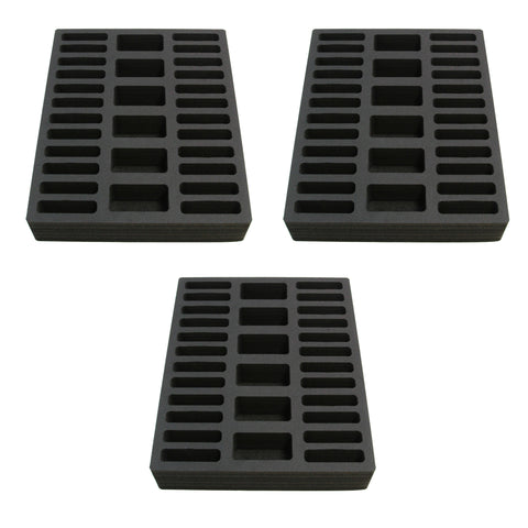 Polar Whale 3 Compact Drawer Organizers Compatible with IKEA Alex Tray Washable Waterproof Insert for Home Bathroom Bedroom Office  11.5 x 14.5 x 2.25 Inches 30 Compartments Black