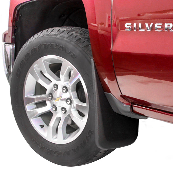 Red Hound Auto 2014-2018 Chevy Silverado 1500 & 2015-2018 Silverado 2500 3500 Molded Splash Mud Flaps Custom Fit Front Only 2 Piece Set Pair Set (Not GMC Sierra, Chevy Only)