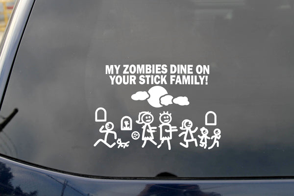 Car Decal Large 8 Inch x 5.5 Inch My Zombie Dines on Your Stick Family Funny Vinyl Big Dinosaur Sticker Compatible with SUV Van Truck Figure Rear Windshield Window Side Funny Family