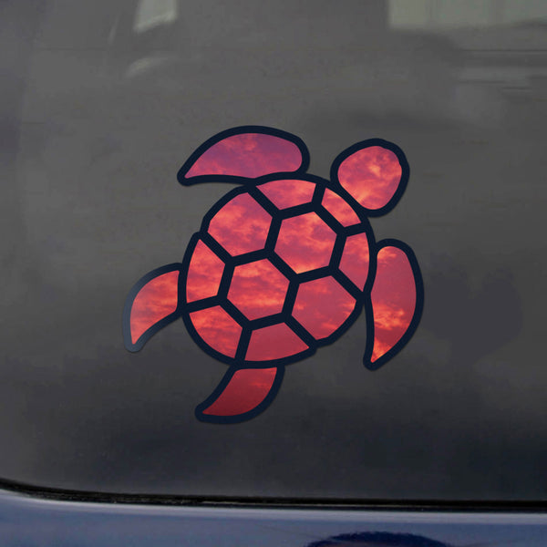 Sea Turtle Red Sky Sticker Decal Wall Tumbler Cup Window Car Truck Laptop 4 Inches