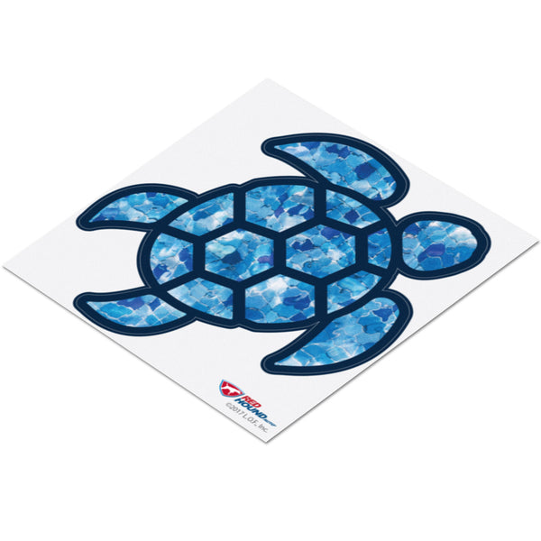 Red Hound Auto Sea Turtle Blue Crystal Sticker Decal Wall Tumbler Cup Window Car Truck Laptop 4 Inches