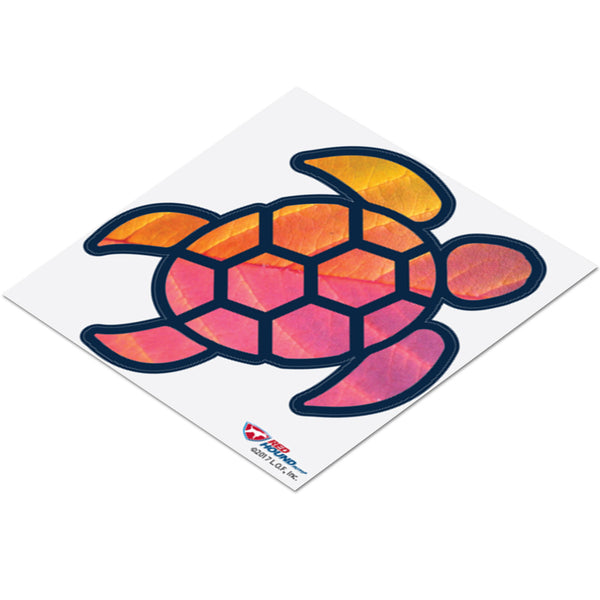 Sea Turtle Red Orange Leaf Sticker Decal Wall Tumbler Cup Window Car Truck Laptop 2.5 Inches
