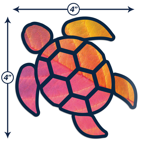 Sea Turtle Red Orange Leaf Sticker Decal Wall Tumbler Cup Window Car Truck Laptop 4 Inches