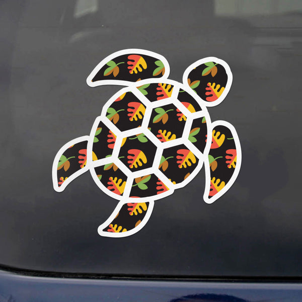 Red Hound Auto Sea Turtle Black Flowers Sticker Decal Wall Tumbler Cup Window Car Truck Laptop 2.5 Inches