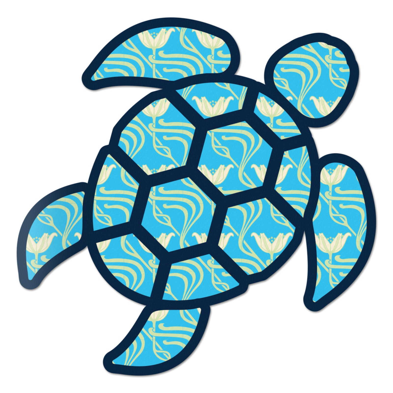 Red Hound Auto Sea Turtle Aqua Flower Sticker Decal Wall Tumbler Cup Window Car Truck Laptop 2.5 Inches