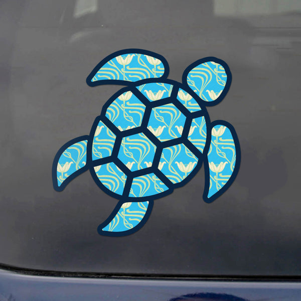 Red Hound Auto Sea Turtle Aqua Flower Sticker Decal Wall Tumbler Cup Window Car Truck Laptop 12 Inches