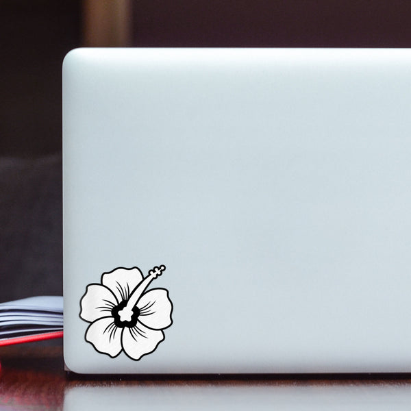 Hibiscus Decal White Sticker Vinyl Rear Window Car Truck Laptop Flower Travel Mug Water and Fade Resistant 2.5 Inches