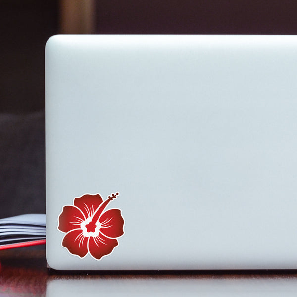 Hibiscus Decal Midnight Red Sticker Vinyl Rear Window Car Truck Laptop Travel Mug Water and Fade Resistant 2.5 Inches