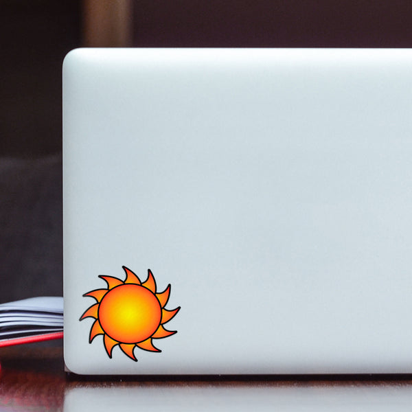 Sun Decal Hot Orange Sticker Vinyl Rear Window Car Truck Laptop Sun Solar Travel Mug Water and Fade Resistant 2.5 Inches