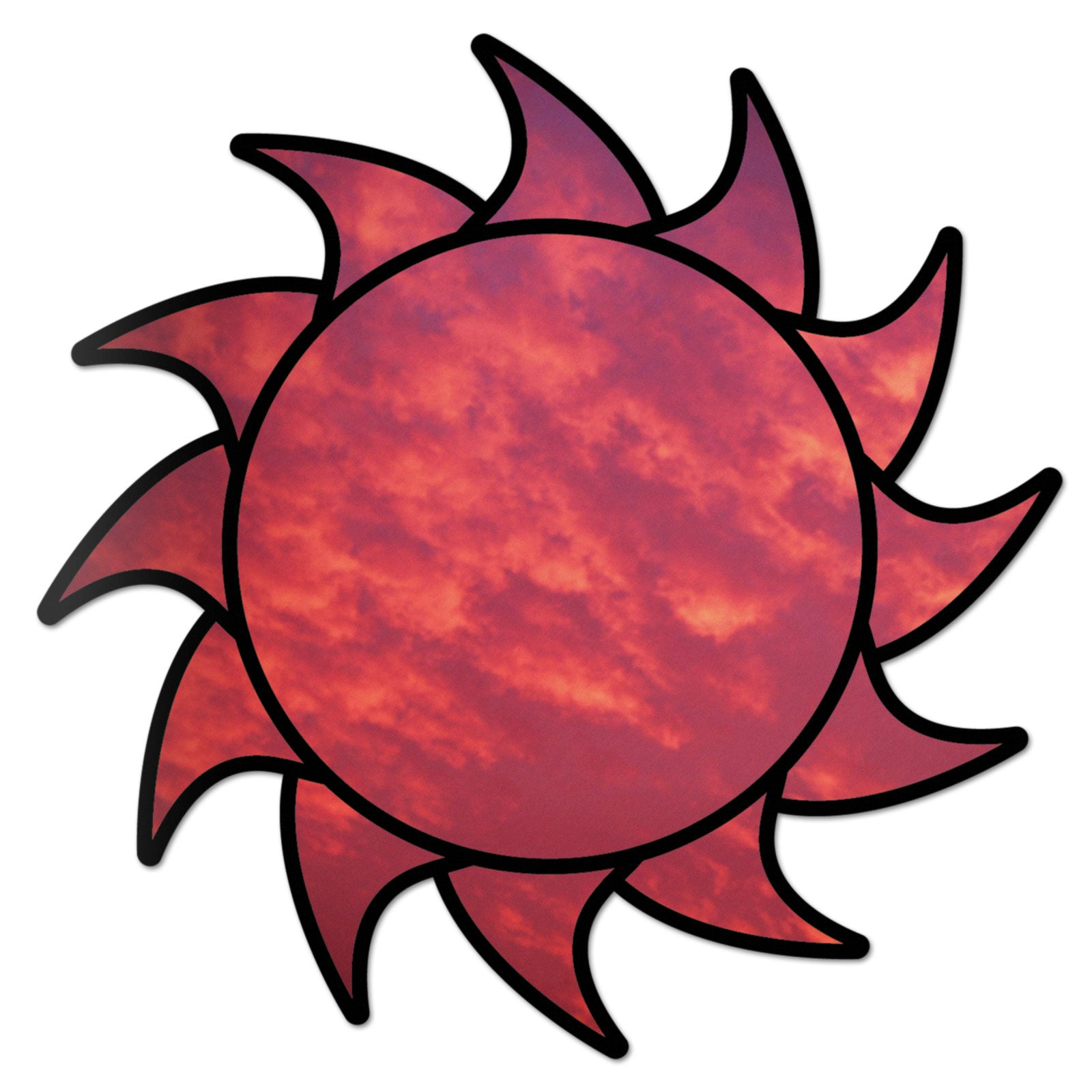 Sun Decal Red Sky Sticker Vinyl Rear Window Car Truck Laptop Sun Travel Mug Water and Fade Resistant 2.5 Inches