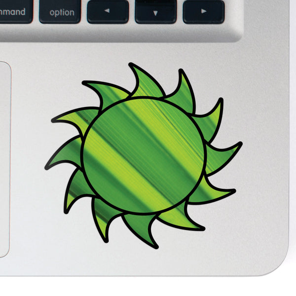 Sun Decal Green Burst Sticker Vinyl Rear Window Car Truck Laptop Sun Travel Mug Water and Fade Resistant 2.5 Inches