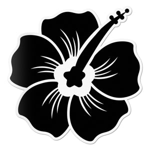 Hibiscus Decal Black Sticker Vinyl Rear Window Car Truck Laptop Flower Wall Water and Fade Resistant 4 Inches