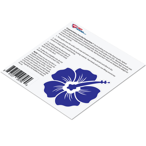 Hibiscus Decal Blue Sticker Vinyl Rear Window Car Truck Laptop Flower Wall Water and Fade Resistant 4 Inches