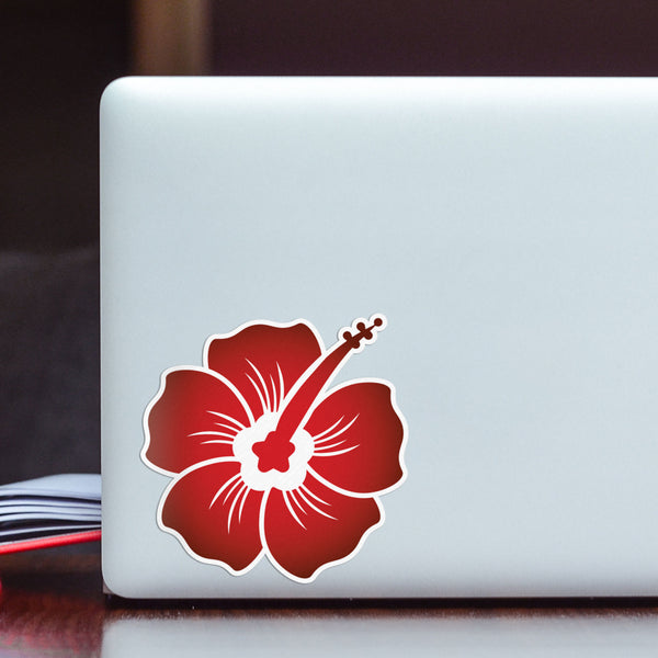 Hibiscus Decal Midnight Red Sticker Vinyl Rear Window Car Truck Laptop Wall Water and Fade Resistant 4 Inches