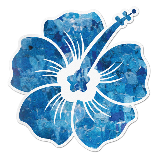 Hibiscus Decal Blue Crystal Sticker Vinyl Rear Window Car Truck Laptop Flower Wall Water and Fade Resistant 4 Inches