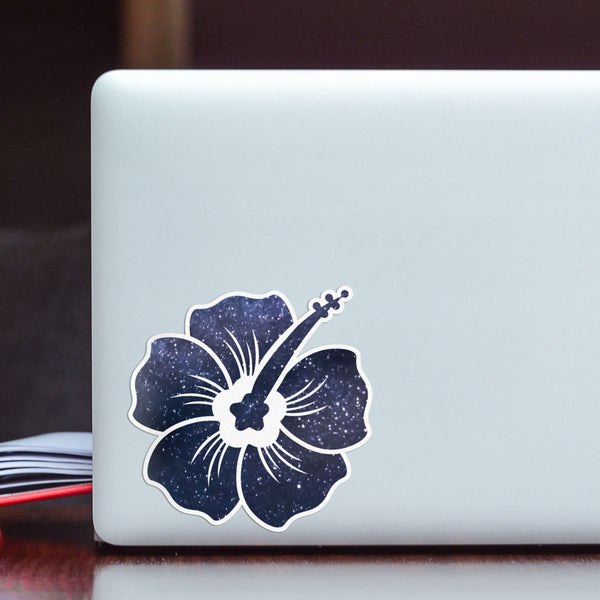 Hibiscus Decal Space Sticker Vinyl Rear Window Car Truck Laptop Flower Wall Water and Fade Resistant 4 Inches