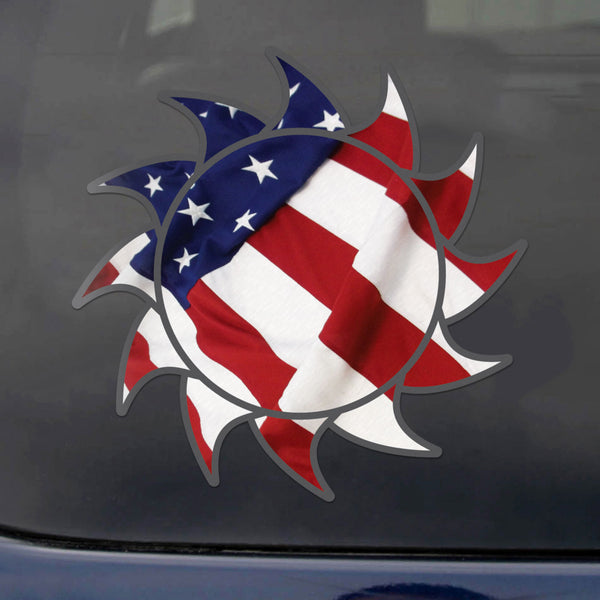 Sun Decal USA Flag Sticker Vinyl Rear Window Car Truck Laptop Sun Solar Wall Water and Fade Resistant 4 Inches