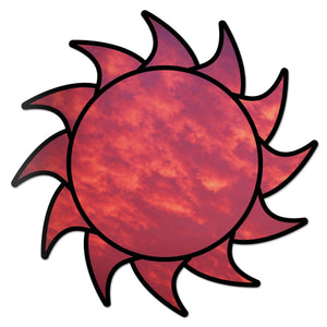 Sun Decal Red Sky Sticker Vinyl Rear Window Car Truck Laptop Sun Solar Wall Water and Fade Resistant 4 Inches