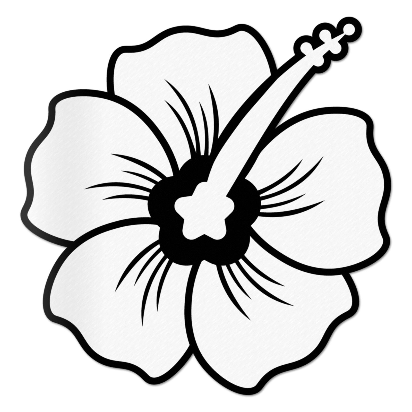 Hibiscus Decal White Sticker Vinyl Rear Window Car Truck Large Flower Wall Water and Fade Resistant 6 Inches