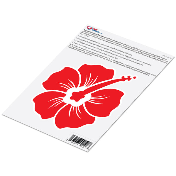 Hibiscus Decal Red Sticker Vinyl Rear Window Car Truck Large Flower Wall Water and Fade Resistant 6 Inches