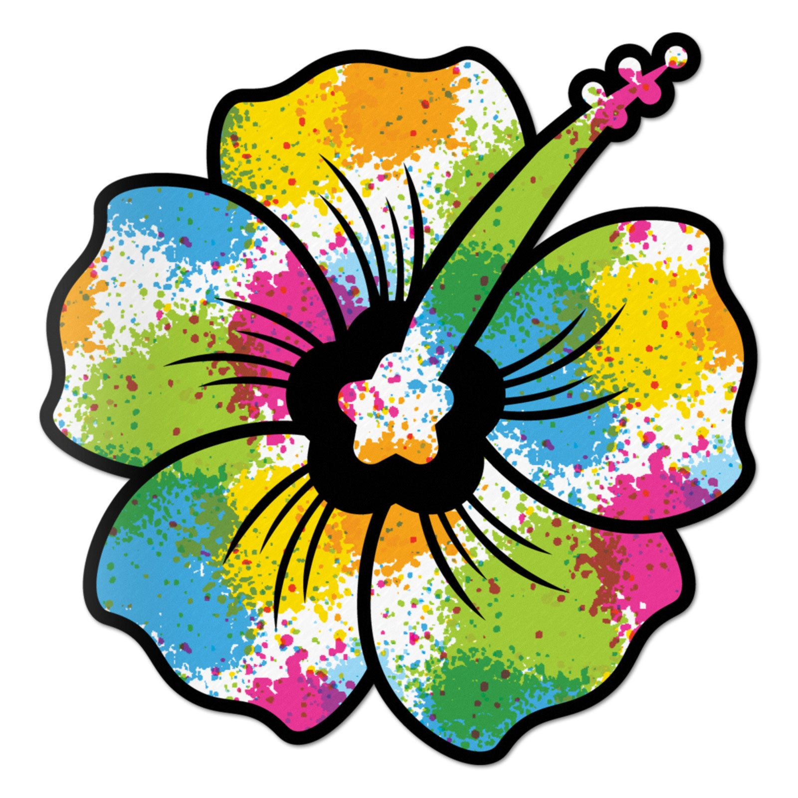 Hibiscus Decal Paint Splash Sticker Vinyl Rear Window Car Truck Large Flower Wall Water and Fade Resistant 6 Inches