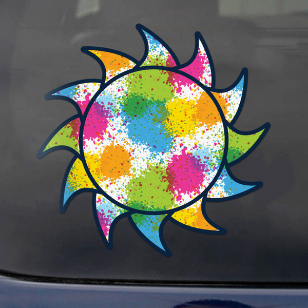 Sun Decal Paint Splash Blue Sticker Vinyl Rear Window Car Truck Large Sun Wall Water and Fade Resistant 6 Inches
