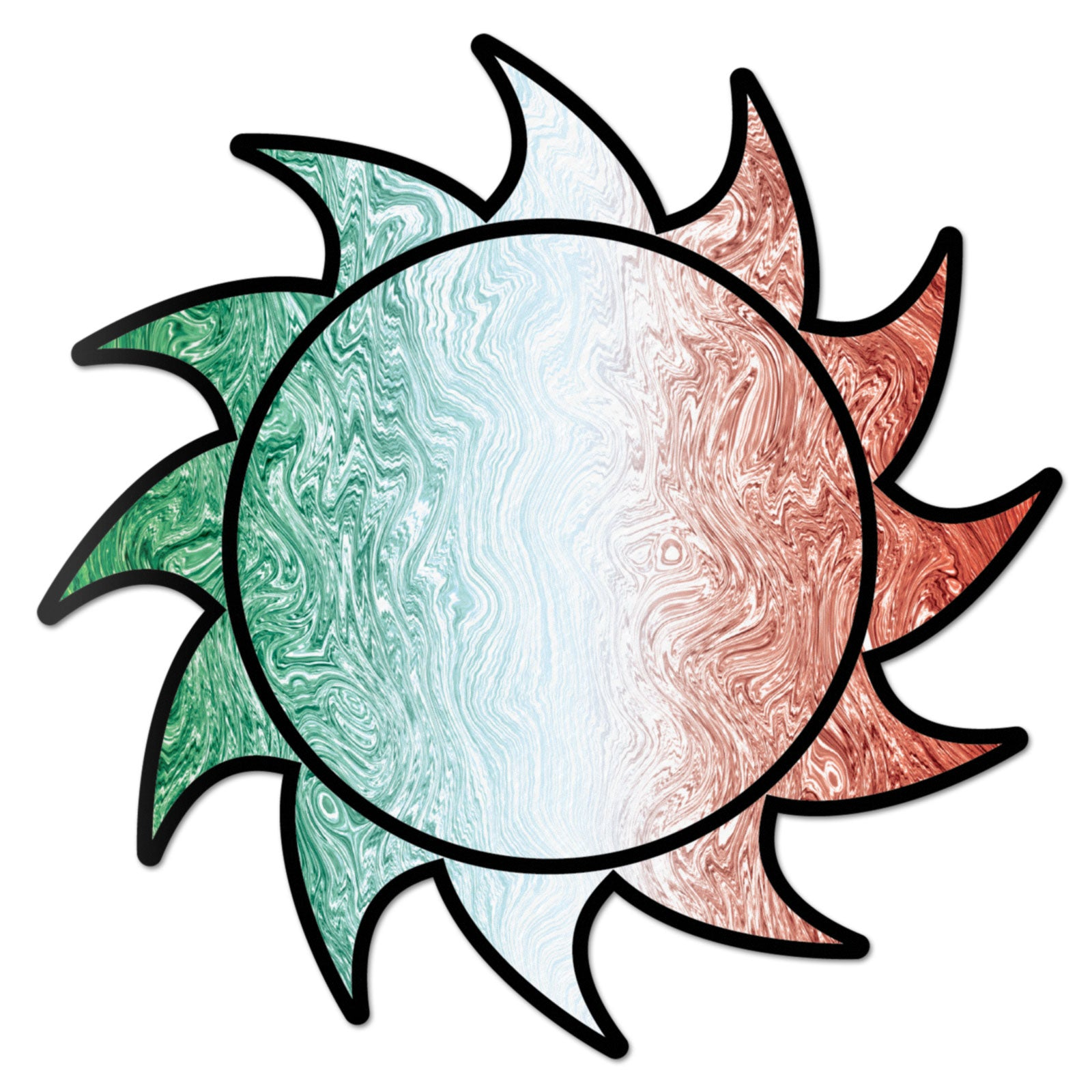 Sun Decal Mexico Swirl Sticker Vinyl Rear Window Car Truck Large Sun Solar Wall Water and Fade Resistant 6 Inches