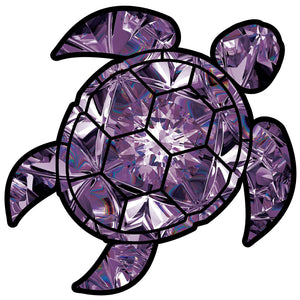 Amethyst Sea Turtle Birthstone Decal February Print Sticker Vinyl Rear Window Car Truck Laptop Gem Travel Mug Water and Fade Resistant 2.5 Inches