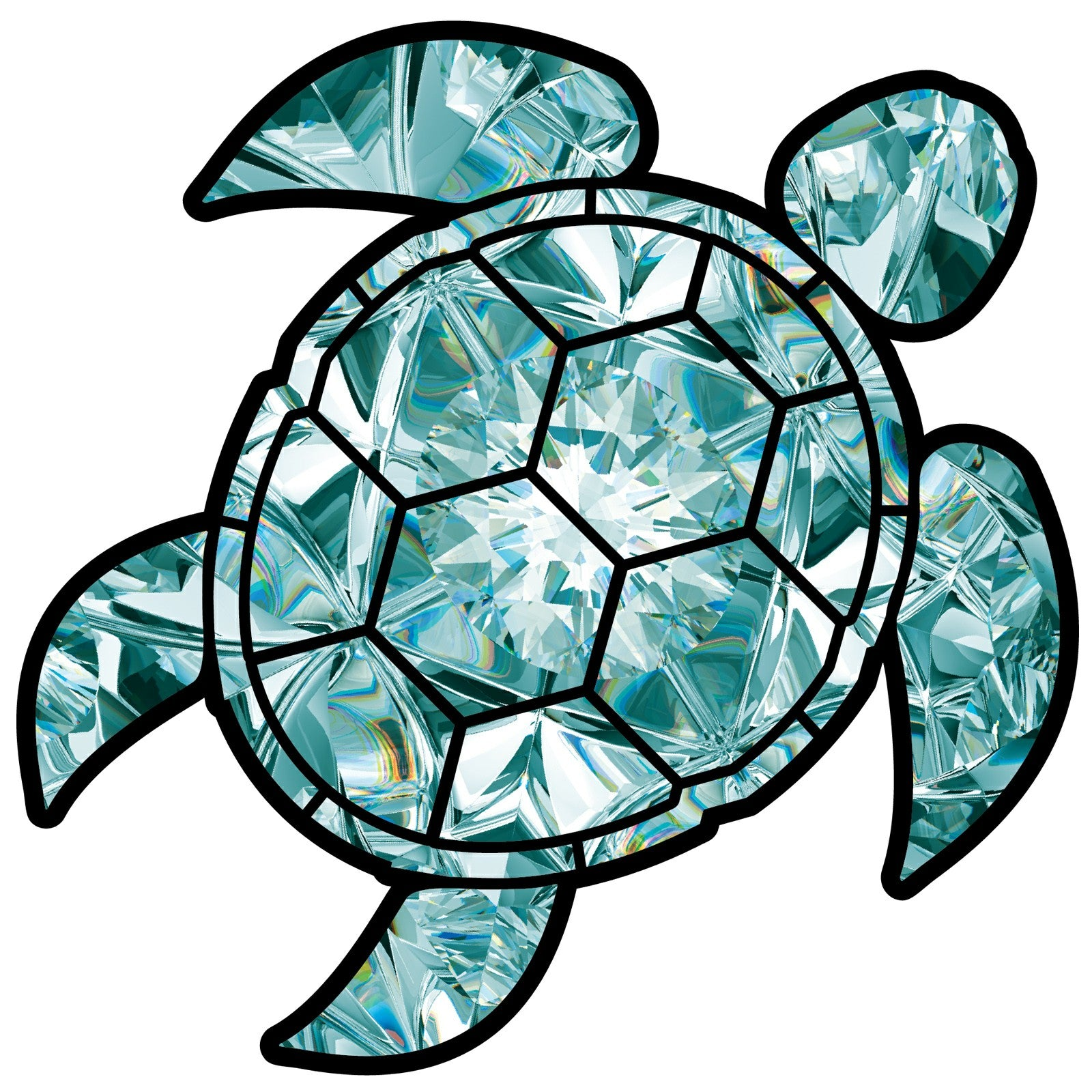 Aquamarine Sea Turtle Birthstone Decal March Print Sticker Vinyl Rear Window Car Truck Laptop Gem Travel Mug Water and Fade Resistant 2.5 Inches