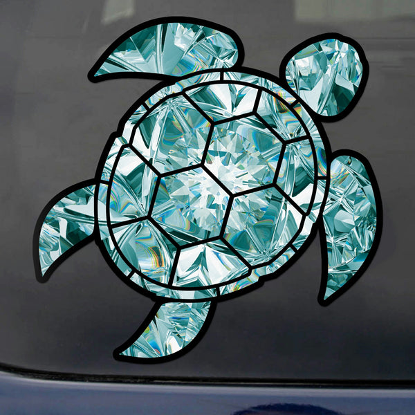 Aquamarine Sea Turtle Birthstone Decal March Print Sticker Vinyl Rear Window Car Truck Laptop Gem Travel Mug Water and Fade Resistant 4 Inches