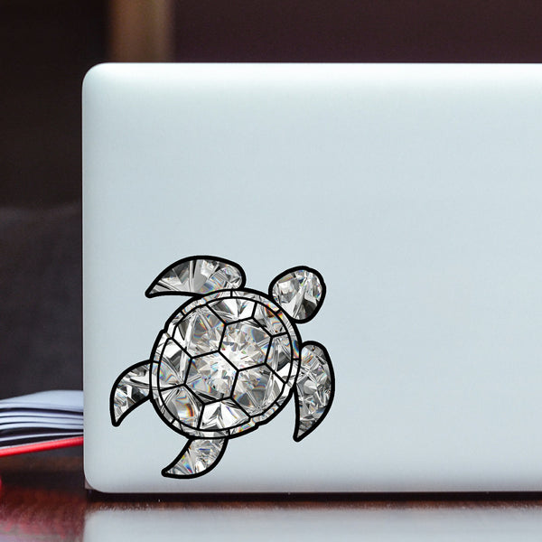 Diamond Sea Turtle Birthstone Decal April Print Sticker Vinyl Rear Window Car Truck Laptop Gem Travel Mug Water and Fade Resistant 4 Inches