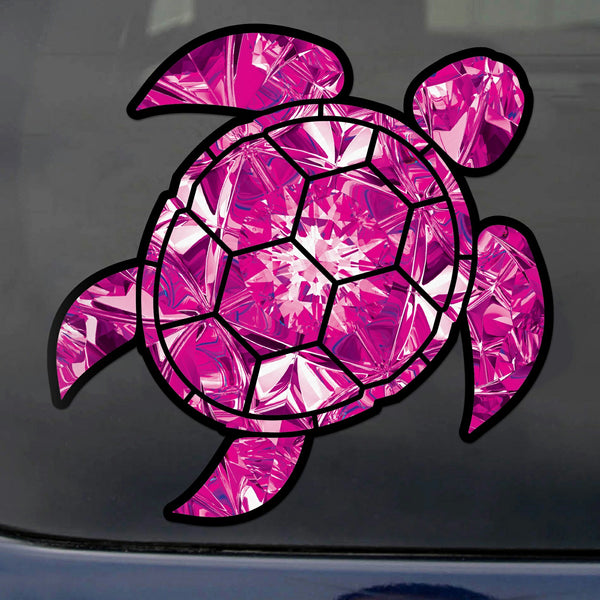 Tourmaline Sea Turtle Birthstone Decal October Print Sticker Vinyl Rear Window Car Truck Laptop Gem Travel Mug Water and Fade Resistant 4 Inches