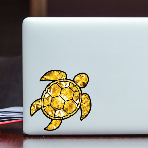 Yellow Topaz Sea Turtle Birthstone Decal November Print Sticker Vinyl Rear Window Car Truck Laptop Gem Travel Mug Water and Fade Resistant 4 Inches