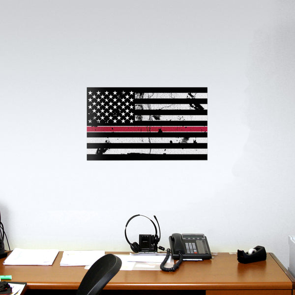 American Flag Distressed Thin Red Line Wall Graphic Extra Large Removable 2 Feet Wide 24 Inch Premium  Vinyl Peel and Stick Decal Sticker