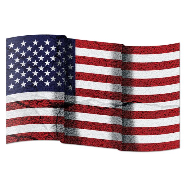 American Flag Distressed Wavy Wall Graphic Large Removable 1 Foot Wide 12 Inch Premium  Vinyl Peel and Stick Decal Sticker
